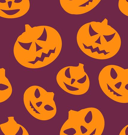 31th: Illustration Seamless Texture with Carving Pumpkins, Halloween Giftwrap - raster Stock Photo