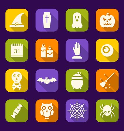 31th: Illustration Halloween Flat Icons with Long Shadows - raster