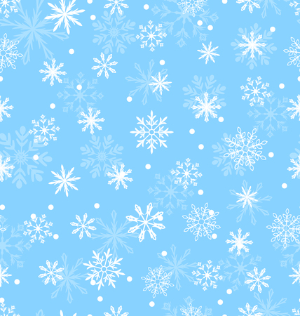 Illustration Seamless Pattern with Variation Snowflakes, Winter Background - raster Stock Photo