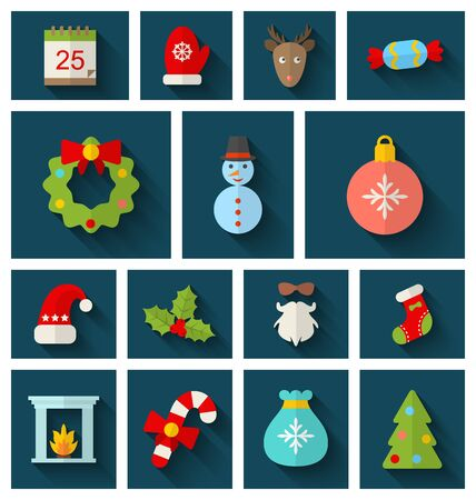 long socks: Illustration Christmas Colorful Objects and Elements with Long Shadows - raster