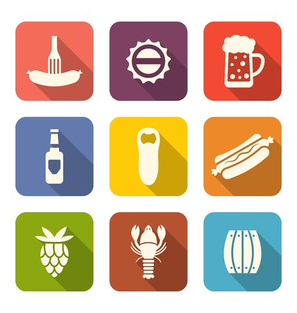 beers: Illustration Group Minimal Colorful Icons of Beers and Snacks - raster