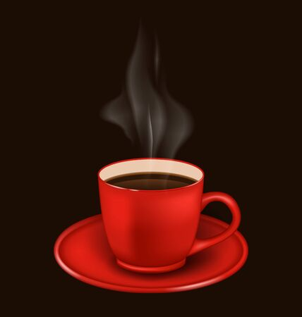 vapor: Illustration isolated realistic red coffee mug with vapor on black background -  raster