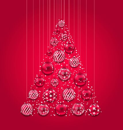 christmas toys: Illustration New Year Abstract Tree Made in Pink Hanging Balls - raster