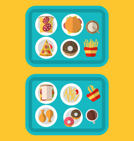hotdog: Illustration Plastic Trays with Fast Food Cheeseburger, French Fries, Bread, Pizza, Chiken Legs, Donuts and Drinks - raster Stock Photo