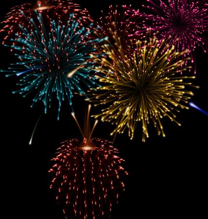 Festive abstract firework bursting in various shapes sparkling set black background - raster Stock Photo