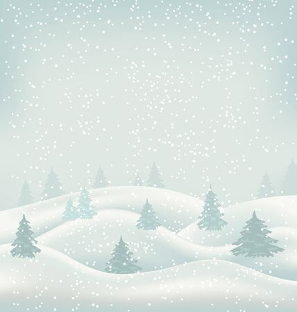 snowcovered: Illustration Christmas Winter Landscape, Snowfall and Snow-covered Trees - raster