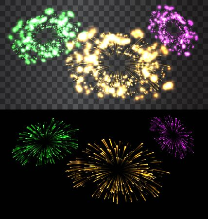 fourth birthday: Set of isolated golden fireworks on black and transparent backdrop - raster
