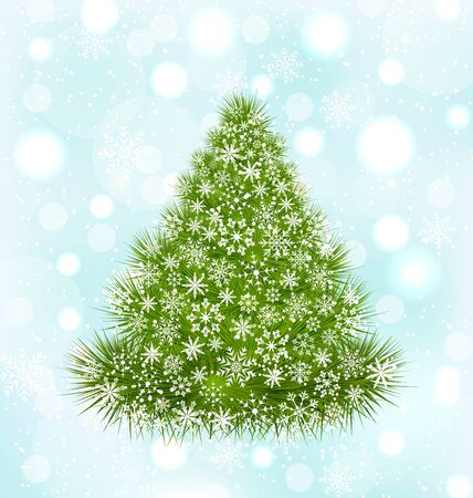 weihnachten: Illustration Christmas Tree with Snowflakes on Blue Shine Background - raster
