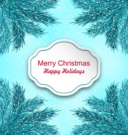 twigs: Illustration Greeting Card with Frame Made in Fir Twigs for Winter Holidays - raster Stock Photo