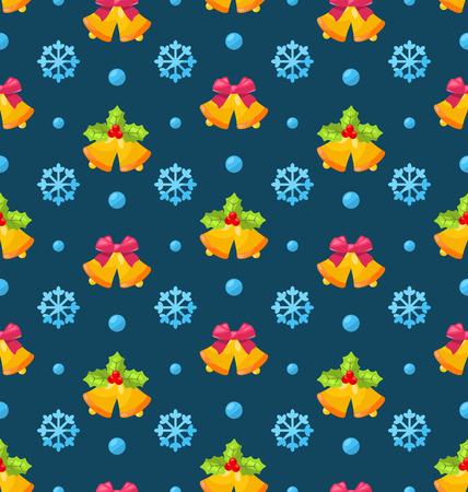 jingle bells: Illustration Christmas Seamless Texture with Jingle Bells and Snowflakes - raster