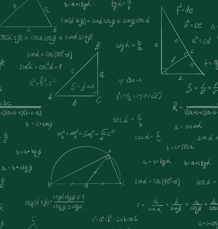 trigonometry: Seamless trigonometry pattern handwriting on green school board - raster Stock Photo