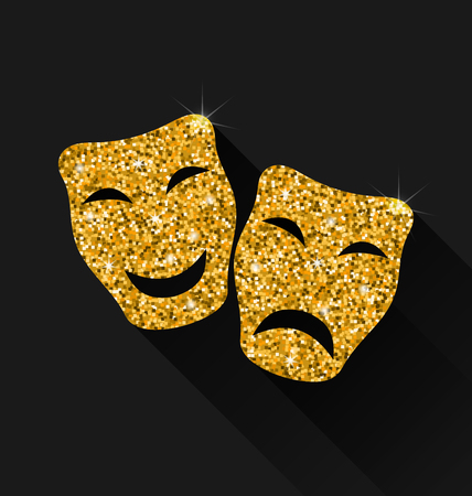 comedy mask: Illustration Comedy and Tragedy Masks with Golden Shimmering Texture for Carnival or Theatre - raster