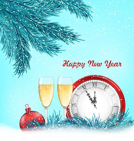watch new year: Illustration Happy New Year Background with Traditional Objects - raster