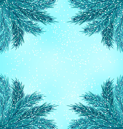 snow fall: Illustration Winter Nature Background with Fir Branches and Snow Fall - raster