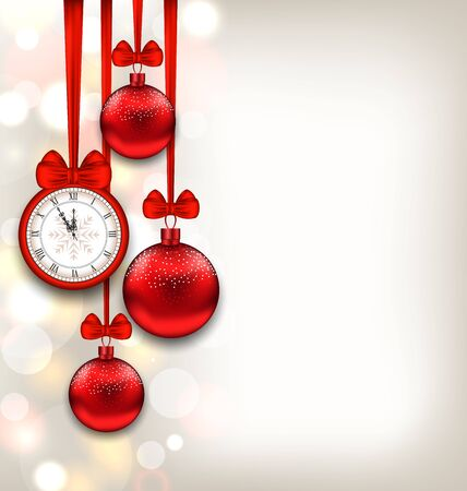 watch new year: Illustration New Year Shimmering Background with Clock and Glass Balls - raster Stock Photo