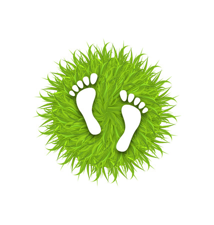 green footprint: Illustration Eco Friendly Footprints on Green Grass, Concept of Green Earth - raster