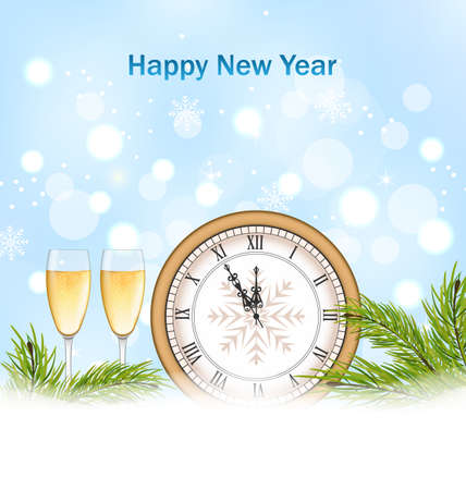 twigs: Illustration Happy New Year Background with Clock, Glasses of Champagne and Fir Twigs - raster