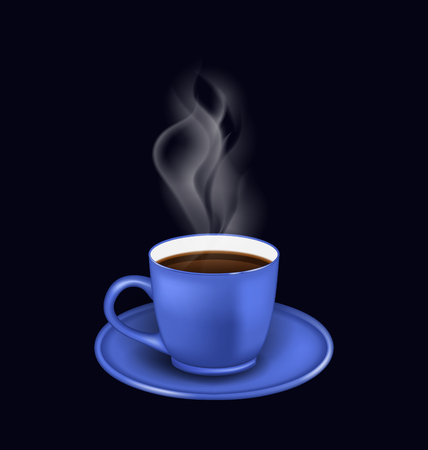 coffe break: Illustration isolated realistic blue coffee cup with steam on black background -  raster