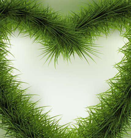 raster illustration: Christmas Background  heart shaped wreath, space for text - raster illustration