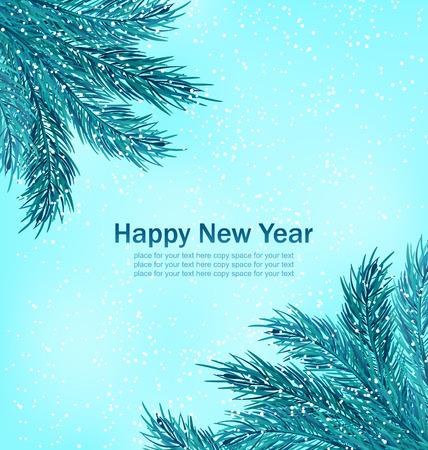 weihnachten: Illustration Happy New Year Background with Fir Branches - raster Stock Photo