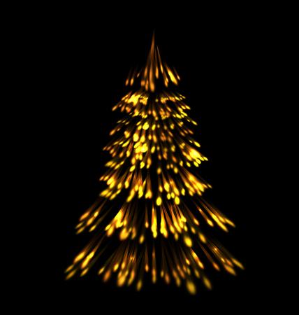 golden light: Golden fir tree christmas  trace fireworks  make shape pine black background - raster Stock Photo