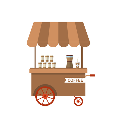 trolley case: Illustration Flat Icon Cart of Coffee Isolated on White Background - raster