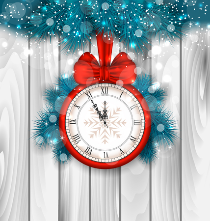 clock: Illustration New Year Midnight Shimmering Background with Clock and Fir Branches - raster