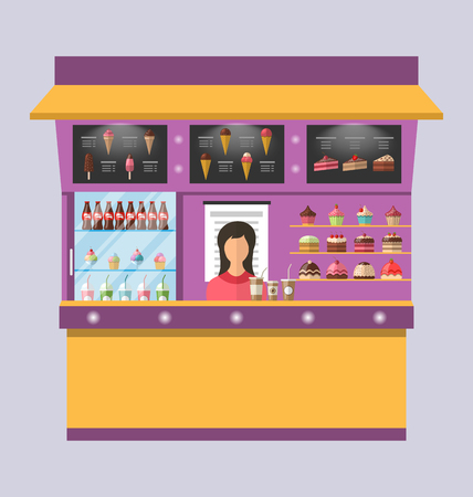 sweet shop: Illustration Sweet Shop with Cakes, Ice Creams, Muffins, Cupcakes, Coffee - raster Stock Photo