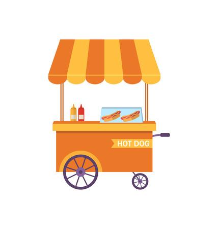 trolley case: Illustration Flat Icon Cart of Hot Dog Isolated on White Background - raster Stock Photo