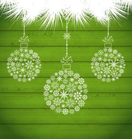 weihnachten: Illustration Christmas Balls Made in Snowflakes on Green Wooden Texture - raster Stock Photo