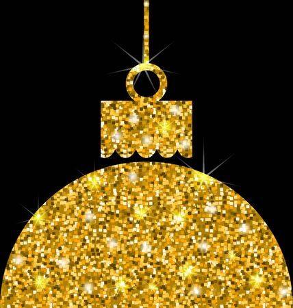 weihnachten: Illustration Christmas Ball with Golden Sparkle Surface, Template for Celebration Card - raster