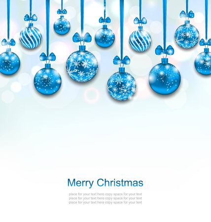 card christmas: Illustration Christmas Blue Glassy Balls with Bow Ribbon, Shimmering Light Background - raster
