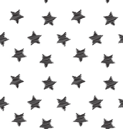 star pattern: Seamless hand drawing star pattern black on white backdrop - vector Illustration