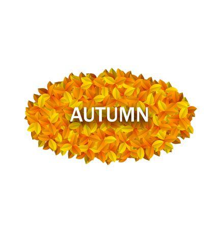 oval frame: Illustration Oval Frame from Autumn Orange Leaves - Vector