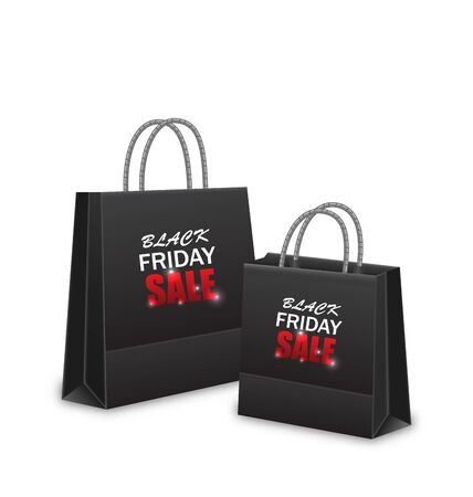 paper bags: Illustration Shopping Paper Bags for Black Friday Sales, Isolated on White Background - Vector