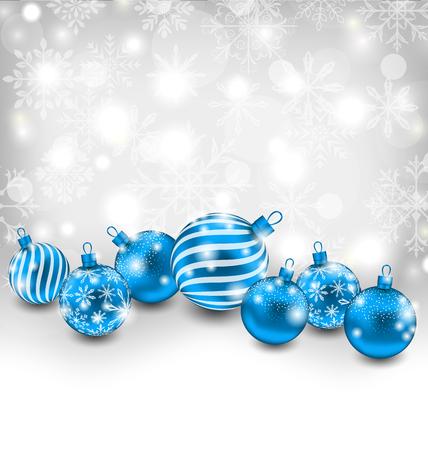 lighten: Illustration Christmas Abstract Shimmering Background with Blue Balls, Lighten Wallpaper - Vector
