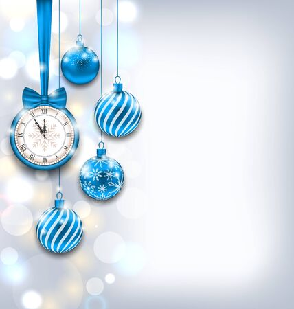 clock: Illustration New Year Shiny Background with Clock and Glass Balls, Glowing Wallpaper - Vector