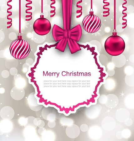 serpentines: Illustration Greeting Paper Card with Bow Ribbon and Christmas Balls, Light Background - Vector