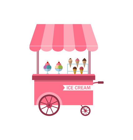 merchant: Illustration Icon of Stand of Ice Creams, Sweet Cart Isolated on White Background - Vector Illustration