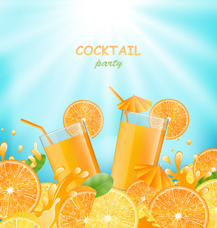 glassful: Illustration Abstract Banner for Cocktail Party with Sliced of Oranges, Lemons and Fresh Beverages - Vector