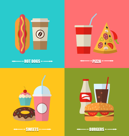 aerated: Illustration set fast food and drink, flat colorful simple icons - vector Illustration