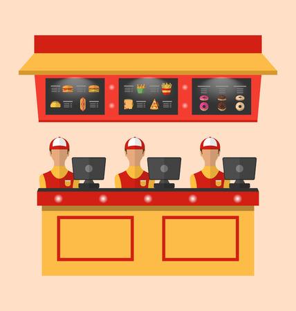 comida rapida: Trabajadores Ilustración con la caja registradora en el Café con comida rápida - vector