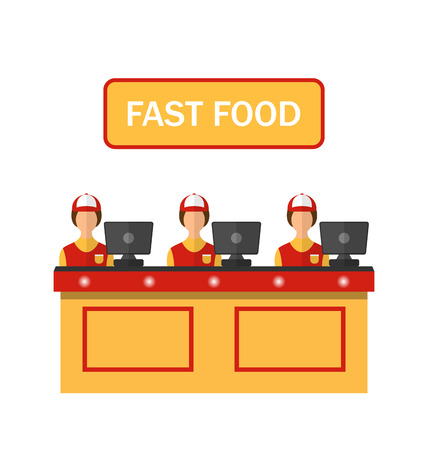 Illustration Cashiers with Cash Register in Diner with Fast Food - Vector