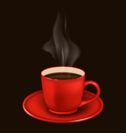 vapor: Illustration isolated realistic red coffee mug with vapor on black background -  vector
