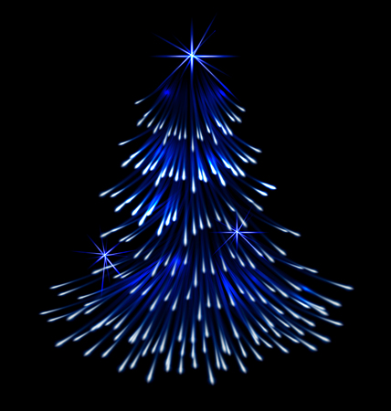 isolated tree: Blue spruce fir christmas  trace fireworks make shape pine black background - vector Illustration