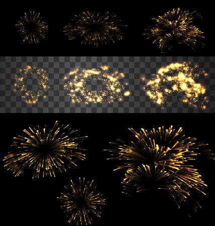 fireworks show: Set of isolated golden fireworks on black and transparent backdrop - vector Illustration