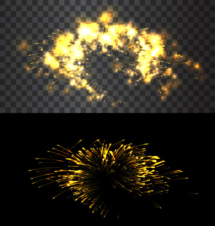 fourth birthday: Set of isolated golden fireworks on black and transparent backdrop - vector Illustration