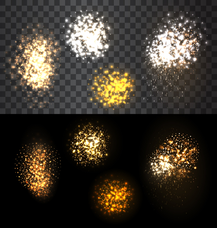 checker: Abstract festive set firework bursting various shapes sparkling against isolated transparency checker and black  background  - vector illustration Illustration