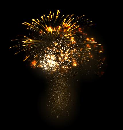 julio: La Navidad festiva de fuegos artificiales estallando grandioso explotar espumoso sobre fondo negro - ilustración abstracta del vector