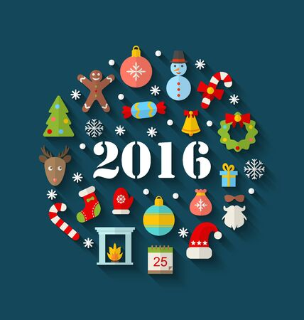 weihnachten: Illustration Colorful Simple Flat Icons with Long Shadows for Happy New Year 2016 - Vector Illustration